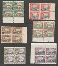 DOMINICA SELECTION OF 6 GVI 1938-47 MNH MARGINAL BLOCKS OF 4 LOVELY LOT C.£75++