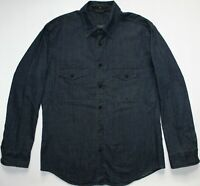 Stone Island Heavy Denim Long Sleeve Button Shirt - XXL 2XL - Navy Blue - Mens