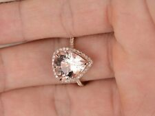 4Ct Pear Cut Morganite Simulnt Diamond Halo Engagement Ring Rose Gold Fns Silver