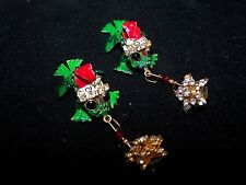Whimiscal Vintage Lunch At The Ritz Frog w/Dangles Christmas Pierced Earrings EC