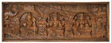 """JAI Shiva Parvati Karttikeya Temple Wood Carving 13.3""""God Hindu Figure Art 6.7KG"""