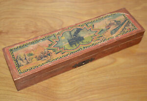 Vintage WOODEN PENCIL CASE With Lock Germany Paper Label 1910's Travel Box