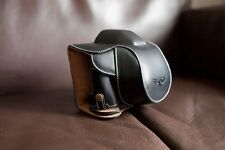 Genuine real Leather Full Camera Case bag for Olympus STYLUS 1 Bottom Open Black