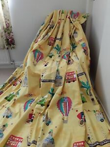 Harlequin DISTANT SHORES fabric LARGE childrens curtains balloon bus vgc yellow