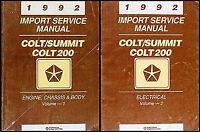 1992 Colt Summit Repair Shop Manual Set Dodge Plymouth Eagle Original Service