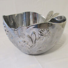 Lenox Butterfly Meadow Metal Salad Bowl with Relief Pattern & Matching Tongs