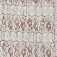 Beige/Bronze Floral Scallop Stretch Lace, Fabric By The Yard