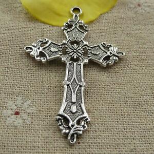 Free Ship 38 pcs tibetan silver cross charms pendant 57x37mm L-4200