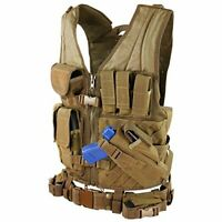 Tactical Cross Draw Vest CV-498 with 3 Pistol Magazine Pouches - Coyote Brown