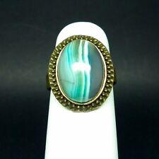Bague réglable support bronze agate bleue neuve