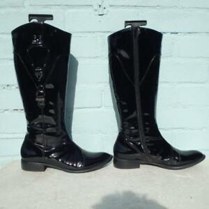 Roberto Botella Patent Leather Boots Size Uk 5 Eur 38 Womens Shoes Black Boots
