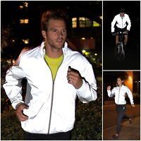 Mens Womens Ladies Hi Vis Neon Reflective Long Sleeve Cycling Running Jacket Zip