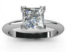 Diamond Solitaire Ring .925 Silver Ring 2.05+ Ct Princess Near White Moissanite