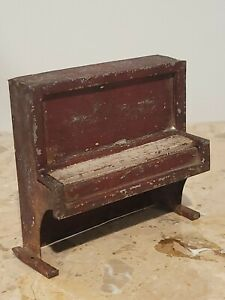 DOLLHOUSE MINIATURE ANTIQUE VERY OLD TIN PIANO