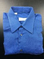 Ermenegildo Zegna Blue Button Front Long Sleeve Men's Shirt Size S 39 15.5