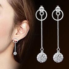 Korean 925 Sterling Silver Women Crystal Pearl Tassel Drop Dangle Long Earrings