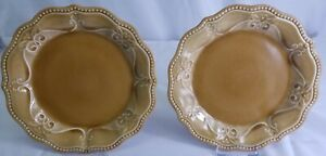 """PAIGE AMBER by Pioneer Woman 2 Salad Plates 8"""" Crackle Amber Beaded & Scalloped"""