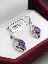 Amethyst and Diamond Earrings (10k)