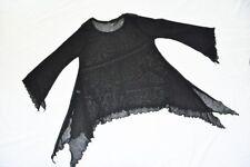 MYO-Lagenlook°raffiniert°Hexen-Tunika-Shirt°Fledermaus°MESH°BLACK°ONE SIZE°55cm
