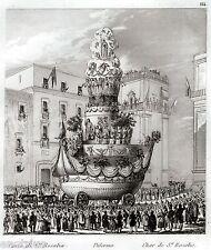 PALERMO: Carro a Navicella di Santa Rosalia. Sicilia.ACCIAIO. Stampa Antica.1835