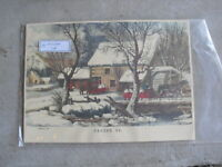 Vintage Circa 1930s Currier & Ives Print Frozen Up Winter