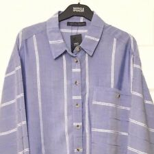 M&S Marks s16 Ladies Blue Soft Modal Striped Relaxed Fit Blouse Top Shirt BNWT