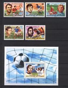 Soccer 1978 A40 MNH Argentina Congo 5v block CV 14.50 eur silver overprint