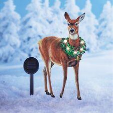 Solar Lighted Majestic Doe Deer with Wreath Metal Christmas Yard Stake