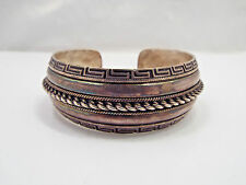 Vtg Native American 935 Sterling Silver Greek Key & Rope Design Cuff Bracelet