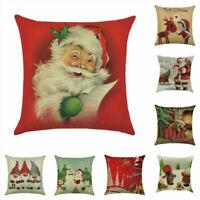 Christmas Pillow Case Santa Cotton Linen Sofa Car Throw Cushion Cover Home - Sy