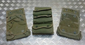 Genuine Vintage French Military Hand Grenade Triple Heavy Canvas Pouch / Holder