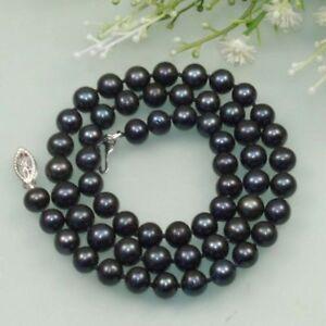 Beautiful 7-8mm Black Cultured Fresh Water Akoya Pearl Necklace 18''