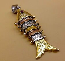 SILVER WITH GOLD AND COPPER PLAT FLEXIBLE FISH DESIGN PENDANT UNISEX