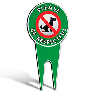 No Poop Dog Signs | Stop Dogs from Pooping On Your Lawn | Sign Politely Reads: |