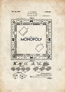 Monopoly Board Game Patent art print 1935  A4 / A5 historic  wall art