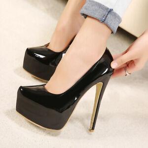 Women Sexy Super High Stilettos Heel Platform Patent Leather Slip On Pumps Shoes