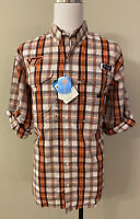 Virginia Tech VT Mens Orange Brown Plaid Button Down Shirt Size M Columbia PFG