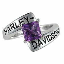 Harley-Davidson Ladies Silver Crossroads Ring Amethyst - size 7