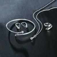 Elegant Jewelry Set Women 925 Silver Soild Drop Necklace Bracelet Earring Ring