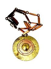 Vintage American Modernist Winifred Mason Chenet Copper Brass Sunburst Necklace