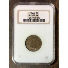 1864 Two Cent Piece NGC MS63 BN *Rev Tye's* #1013180