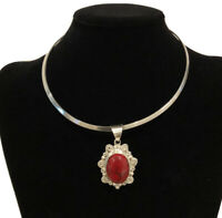 Vintage Mexico 925 Sterling Silver Choker Necklace And Blood Red Jasper Pendant