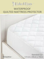 3 Sets Kidz Kiss Bamboo Waterproof Quilted Mattress Protector Standard Cot