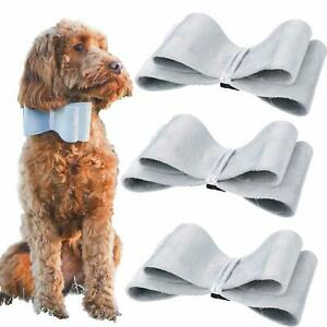 Dog Puppy Velvet Festive Christmas Silver Bow Bow-tie Easy To Attach To Collar