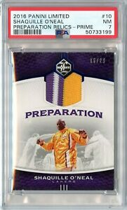 2016-17 Panini Limited Shaquille O'Neal Preparation Relics Prime 16/29 #10 PSA 7