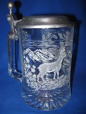 VINTAGE BEER STEIN MUG - PEWTER W/ DEER FOREST ETCHED GLASS - MADE IN GERMANY