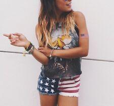 """LF carmarblue low rize american flag frayed denim shorts sz 26"""""""