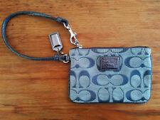 COACH POPPY SIGNATURE WRISTLET WALLET, GREY'S & SILVER METALLIC, JACQUARD, NEW