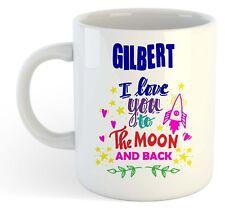 Gilbert - I Love You To The Moon And Back Mug Blue - Funny Named Valentine Mug