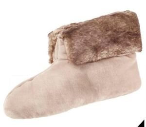 isotoner Signature Stone Beige Plush Velour Faux Fur Memory Foam Bootie Slipper